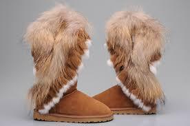 New UGG 8688 Women Fox Fur Tall Boots Chestnut