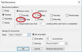 reset a recurring task in outlook