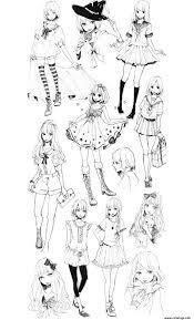 Coloriage Coloring Adult Fashion Manga Style Dessin