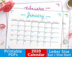 2020 Blank Monthly Calendar Printable Minimalist Geometric