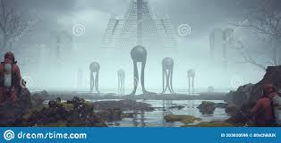 2 Hombres Con Trajes De Hazmat Observando Extraños Extraterrestres  Flotantes Negros Con Largos Tentáculos Y Arquitectura Brutalist Stock de  ilustración - Ilustración de poderoso, concreto: 203020596