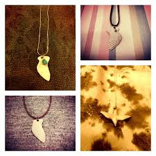 custom made ceramic wing bird and feather necklaces