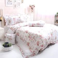girls queen bedding cotton luxury queen bedding rose fl bedding set elegant lace country style ruffles girls queen bedding