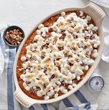 sweet potato casserole recipe with marshmallows and pecans. Unique Potato Classic Sweet Potato Casserole For Recipe With Marshmallows And Pecans A