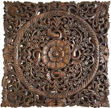 Wood Carved Wall Decor Oriental Hand Carved Wood Wall Plaques Wall Sculptures Asiana