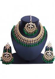 indian jewelry green golden pearl and kundan bridal necklace set