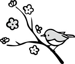 梅 うぐいすのかわいいイラスト画像素材白黒 モノクロ