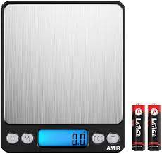 Amazon.com: AMIR Digital Kitchen Scale, 3000g 0.01oz/0.1g Pocket Cooking  Scale, Mini Food Scale, Pro Electronic Jewelry Scale with Back-Lit LCD  Display, Tare & PCS Functions, Stainless Steel, Black: Kitchen & Dining