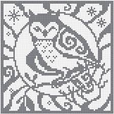 Filet Crochet Charts Owl Square Chart For Cross Stitch