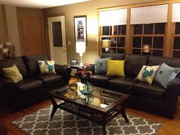 living rooms with brown furniture. Interior Brown Leather Sofa And Colorful Pillows Funky Living Room Decor Design Ideas Rooms With Furniture