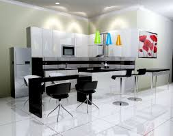 White Floor Tile Kitchen Black And White Kitchen Breakingdesignnet