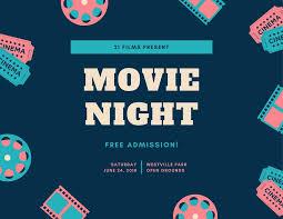 Free Movie Night Flyer Templates Aqua And Blue Illustrated Movie Night Flyer Templates By Canva