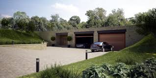grey underground concrete room with wooden garage door can add the elegant touch inside house design ideas with large yard make it seems nice aquashield