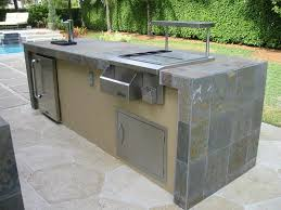 outdoor enchanting rectangular outdoor kitchen island in gray theme with sink also cooker and stone