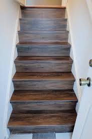 great solution wood look vinyl tile on a stair