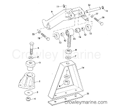 Array engine mount group 165 hp w manual trim r2 suffix models 1975 rh crowleymarine