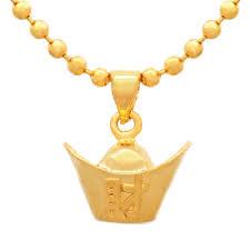 golden chinese ingot pendant for wealth
