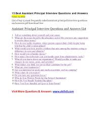 Assistant Principal Interview Questions And Answers 15 Best Assistant Principal Interview Questions And Answers