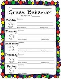 Free Behavior Charts For 2nd Graders Elementary Weekly Behavior Chart 2nd Grade Student
