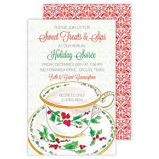 Christmas Tea Party Invitations Christmas Tea Cup Large Flat Invitation