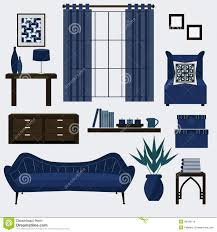 Living Room Furniture Accessories Living Room Furniture And Accessories In Color Tea Stock Vector