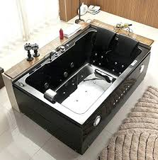2 person bathtub black type whirlpool jacuzzi waterfall faucet cover massage jets built in heater radio