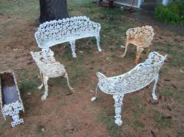antique cast iron patio furniture 2 benches chairs and 1 planter accent sofa affordable antique chair styles furniture e2