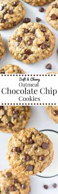these soft and chewy oatmeal chocolate chip cookies are made with brown sugar old fashioned oats chopped walnuts lots of chocolate chips for the perfect