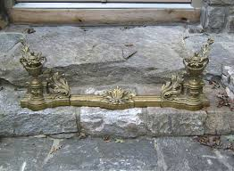 french brass fireplace fender and chenets item 7257 for