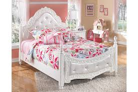 french inspired satiny white upholstered full bed with acrylic crystal topped posts ashley furniture bedroom photo 2
