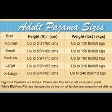 Big Feet Pjs Size Chart Big Feet Pajama Co Adult Footed Pjs Small Nwt