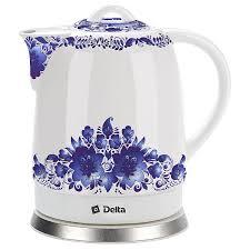 <b>Чайник</b> электрический <b>DELTA DL</b>-<b>1233B</b> Синие цветы купить по ...