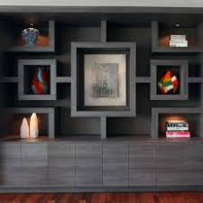 Modern Gray Built-In Bookcase With Custom Shelving