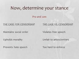 or how to a topic and persuade your readers approaching the  now determine your stance pro and con the case for censorshipthe case vs