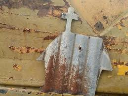 rustic corrugated metal church art decor farm recycled