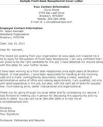 Examples Of Cover Letters For Receptionist Cover Letter Examples For