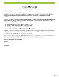 Best Assistanteacher Cover Letter Examples Education