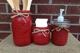 Red Kitchen Decor Hand Painted Mason Jar Kitchen Set 3 Piece Mason Jar Kitchen