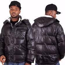 karl kani hip hop mid bubble winter parka jacket in black gloss shiny size 2xl