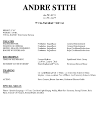 Performance Resume Vocal Source Musical Theatre Template Free Doc