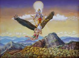 lord visnu flying on garuda eagle spiritual art vedic art oil painting