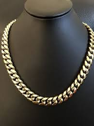 men s cuban miami link 20 choker chain 14k gold over stainless steel