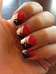 Black And White Nail Designs Acrylic Nails Black Red And White Nails Red Nail Designs Black Nail