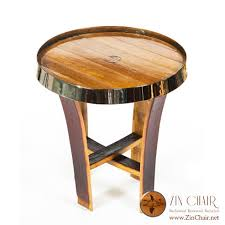 wine barrell furniture. wine barrel side table with chrome band inside staves top view by zinchair barrell furniture
