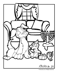 Small Picture Hanukkah Coloring Page with Cat Dog Mouse Animal Jr