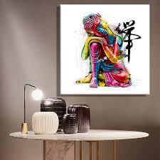framelessoil peintures toile color bouddha assis mur art