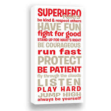 superhero rules gallery wrapped canvas