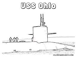 Free Watercraft Submarine Coloring Page For