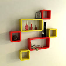 wall shelf brackets red yellow for room decoration