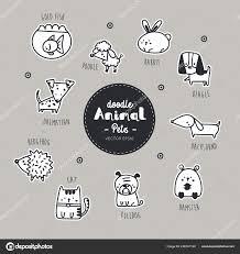 Animal Icon Pet Animal Icon Set Hand Draw Doodle Vector Stock Vector